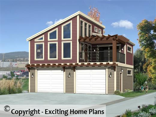 Modern house garage dream cottage blueprints by for Modern carriage house plans