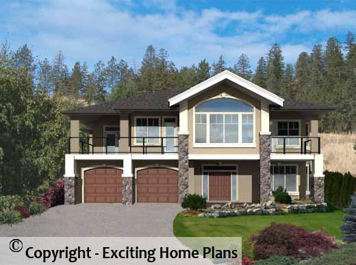Modern House  Garage  amp  Dream Cottage Blueprints by Exciting Home PlansOakridge   Grade Level Entry Front D View of House