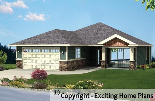 Modern house garage dream cottage blueprints by for Bungalow design concept