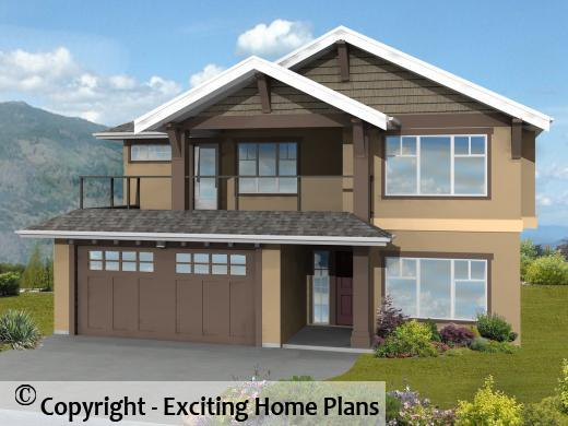Modern House  Garage  amp  Dream Cottage Blueprints by Exciting Home PlansBentley I     Pitch Grade Level Entry   Front View of House