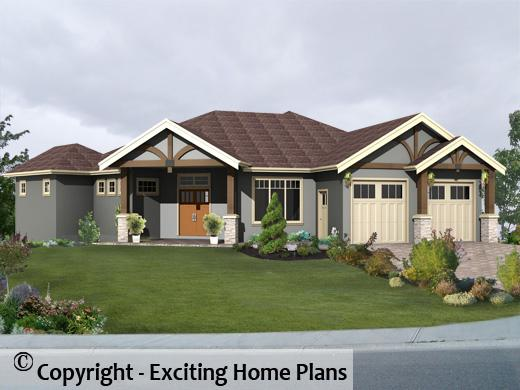Modern house garage dream cottage blueprints by exciting home plans - Corner lot home designs ...