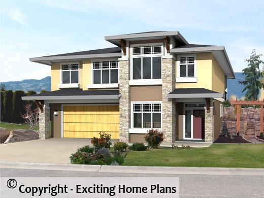 chicago home blueprints. Chicago II  Grade Level Entry Front View Modern House Garage Dream Cottage Blueprints by Exciting Home Plans